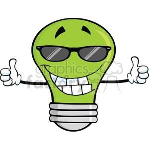 6161 Royalty Free Clip Art Smiling Green Light Bulb With Sunglasses Giving A Double Thumbs Up clipart. Royalty-free image # 389395