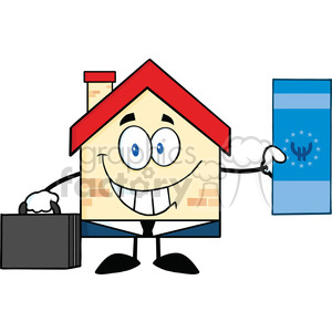 6454 Royalty Free Clip Art Smiling House Businessman Carrying A Briefcase And Showing A Euro Bill clipart. Commercial use image # 389435