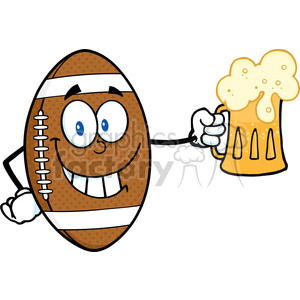 6590 Royalty Free Clip Art Smiling American Football Ball Cartoon Character Holding A Beer clipart. Commercial use image # 389445
