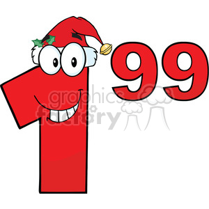 Price Tag Red Number 1.99 With Santa Hat Cartoon Mascot Character clipart. Commercial use image # 389470