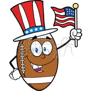 6577 Royalty Free Clip Art American Football Ball Cartoon Mascot Character With American Patriotic Hat And USA Flag clipart. Commercial use image # 389490