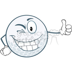 6490 Royalty Free Clip Art Winking Golf Ball Cartoon Character Holding A Thumb Up