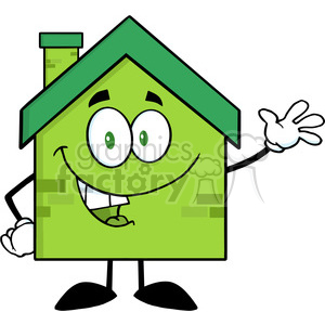 6476 Royalty Free Clip Art Green Eco House Cartoon Character Waving For Greeting clipart. Commercial use image # 389510