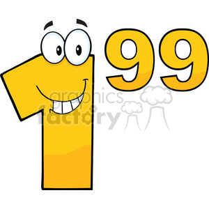 Price Tag Number 1.99 Cartoon Mascot clipart. Commercial use image # 389570