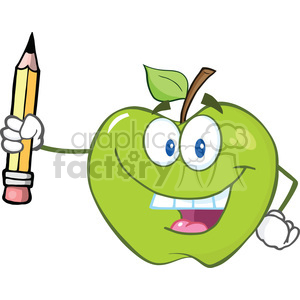 6532 Royalty Free Clip Art Happy Green Apple Holding Up A Pencil clipart. Royalty-free image # 389590