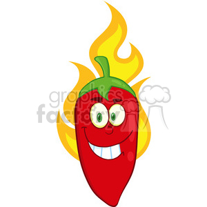 6771 Royalty Free Clip Art Smiling Red Chili Pepper Cartoon Mascot Character On Fire clipart. Commercial use image # 389610