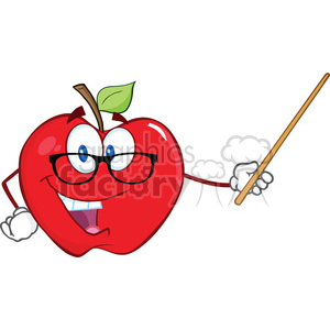 6509 Royalty Free Clip Art Smiling Apple Teacher Character With A Pointer clipart. Commercial use image # 389620