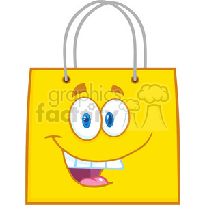 6720 Royalty Free Clip Art Happy Yellow Shopping Bag Cartoon Mascot Character clipart. Royalty-free image # 389632
