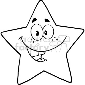 6715 Royalty Free Clip Art Black and White Smiling Star Cartoon Mascot Character clipart. Royalty-free image # 389662