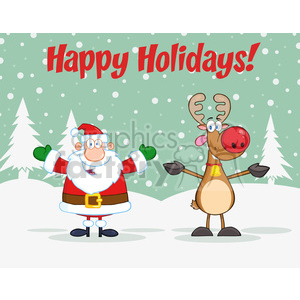 6668 Royalty Free Clip Art Holiday Greetings With Santa Claus And Rudolph Reindeer clipart. Royalty-free image # 389672