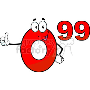 6691 Royalty Free Clip Art Price Tag Red Number 0-99 Cartoon Mascot Character Giving A Thumb Up clipart. Commercial use image # 389682