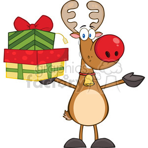 6684 Royalty Free Clip Art Happy Rudolph Reindeer Holding Up A Stack Of Gifts clipart. Royalty-free image # 389692