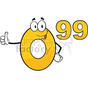 6688 Royalty Free Clip Art Price Tag Number 0-99 Cartoon Mascot Character Giving A Thumb Up