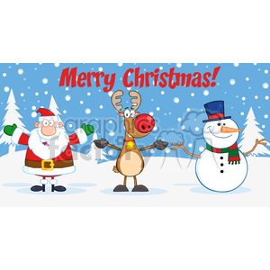 6682 Royalty Free Clip Art Merry Christmas Greeting With Santa Claus,Rudolph Reindeer And Snowman clipart. Royalty-free image # 389712
