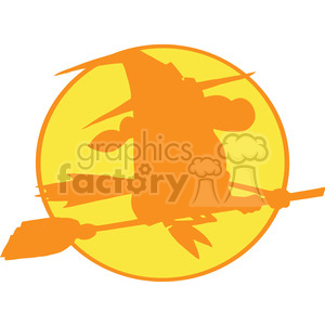 6633 Royalty Free Clip Art Witch Ride A Broom Silhouette