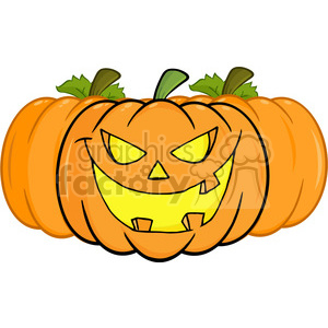 6615 Royalty Free Clip Art Smiling Halloween Pumpkin Cartoon Illustration clipart. Commercial use image # 389742