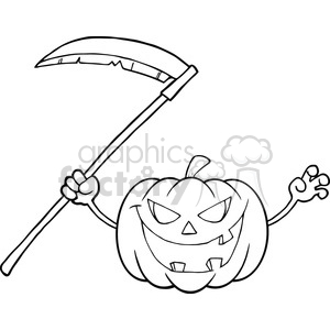 6637 Royalty Free Clip Art Back And White Scaring Halloween Pumpkin With A Scythe Cartoon Illustration clipart. Commercial use image # 389752