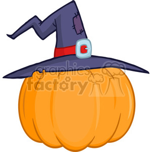 6604 Royalty Free Clip Art Pumpkin With A Witch Hat Cartoon Illustration clipart. Royalty-free image # 389762