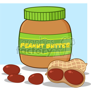 6596 Royalty Free Clip Art Peanut Butter Jar Cartoon Illustration clipart. Commercial use image # 389772