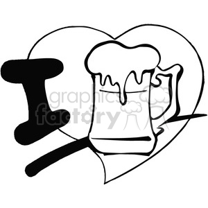 I love beer in black and white clipart. Commercial use image # 389780