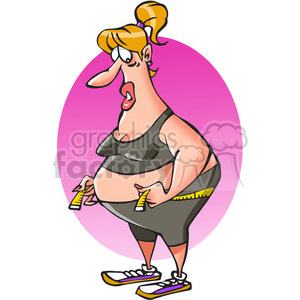 cartoon character funny comical fitness weight+loss female
