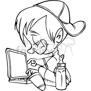 child on a computer in black and white clipart. Royalty-free image # 389810