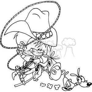 cartoon rodeo character in black and white clipart. Royalty-free image # 389830