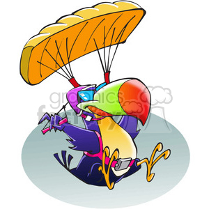 parachuting tropical bird cartoon clipart. Commercial use image # 389870
