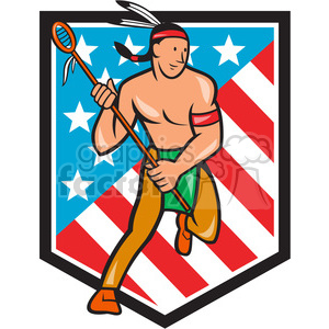 lacrosse indian player running SHIELD clipart. Royalty-free image # 389935