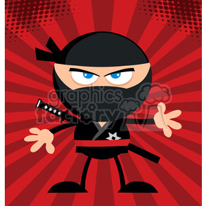 Royalty Free RF Clipart Illustration Angry Ninja Warrior Cartoon Character Flat Design Over Red Background animation. Royalty-free animation # 390091