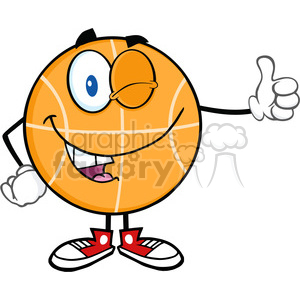 Royalty Free RF Clipart Illustration Winking BasketBall Cartoon Character Holding A Thumb Up clipart. Royalty-free image # 390121