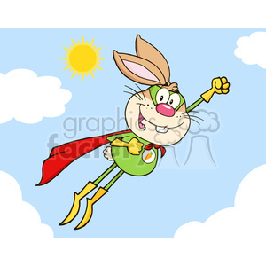 Royalty Free RF Clipart Illustration Brown Rabbit Superhero Cartoon Character Flying In The Sky clipart. Royalty-free image # 390131