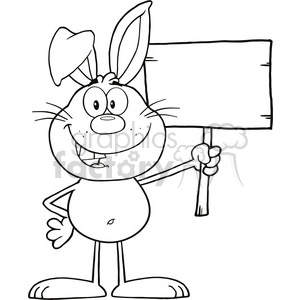 Royalty Free RF Clipart Illustration Black And White Funny Rabbit Cartoon Character Holding A Wooden Board clipart. Royalty-free image # 390181