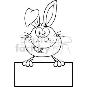 Royalty Free RF Clipart Illustration Black And White Cute Rabbit Cartoon Mascot Character Over Blank Sign clipart. Royalty-free image # 390221