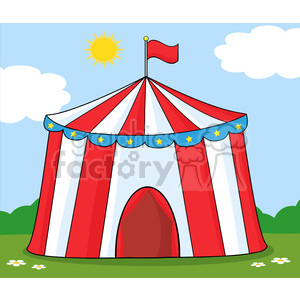 Royalty Free RF Clipart Illustration Big Circus Tent On Meadow clipart. Commercial use image # 390231