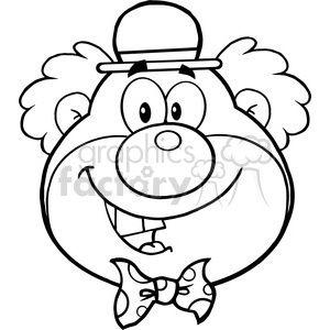 Royalty Free RF Clipart Illustration Black and White Funny Clown Head Cartoon Character clipart. Commercial use image # 390251