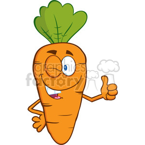 Royalty Free RF Clipart Illustration Winking Carrot Cartoon Character Holding A Thumb Up