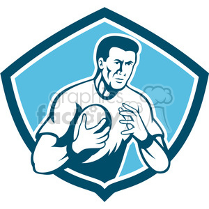 half rugby player holding ball front clipart. Royalty-free image # 390361