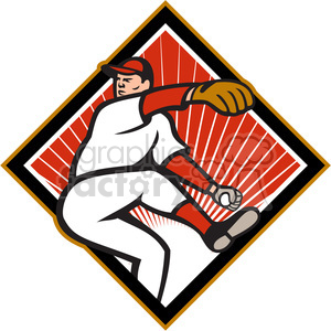 baseball pitcher leg up DIA clipart. Royalty-free image # 390467