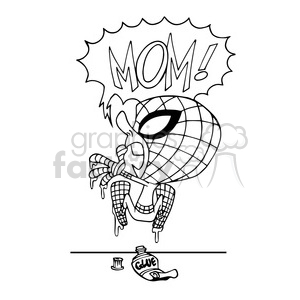 super hero stuck on a wall outline clipart. Commercial use image # 390649