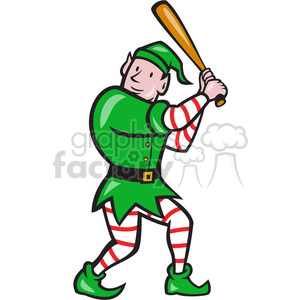 elf batting stance front clipart. Commercial use image # 391359