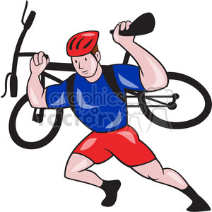 cartoon character mascot people funny biker biking man guy carrying bike