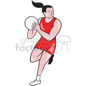 female volleyball palyer jumping with ball clipart. Royalty-free icon # 391439