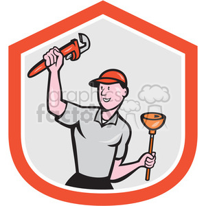 plumber holding plunger and wrench clipart. Royalty-free image # 391449