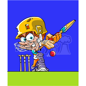 cartoon cricket player clipart. Royalty-free image # 391502
