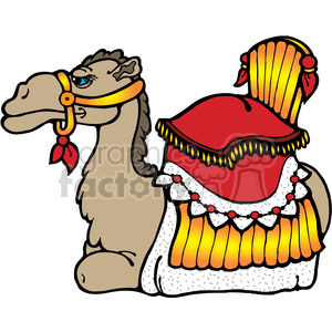 Camel Laying down with saddle clipart. Royalty-free image # 391629