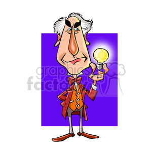 Thomas Alva Edison cartoon caricature clipart. Royalty-free image # 391735