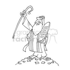 Moses bw cartoon caricature clipart. Royalty-free image # 391755