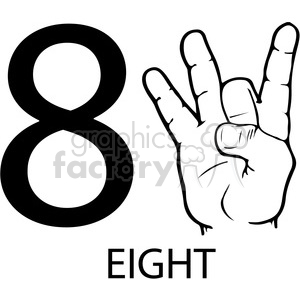ASL sign language 8 clipart illustration worksheet clipart. Commercial use image # 392297