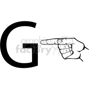 sign+language education letters hand black+white alphabet g